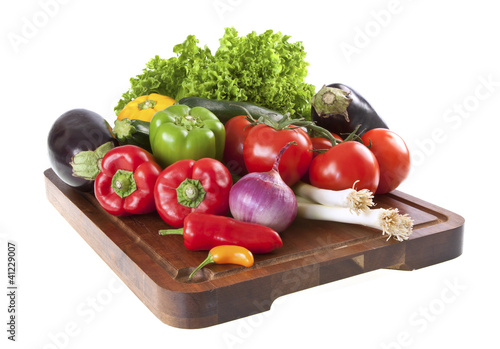 Fresh vegetables on chopping board