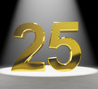 Gold 25th 3d Number Closeup Representing Anniversary Or Birthday