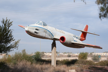 Gloster Meteor plane monument at Hatzerim, Israel