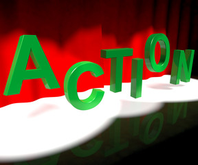 Action Letters Dancing Showing Activity And Motivation