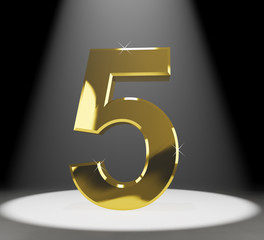 Gold Five Or 5 3d Number Closeup Representing Anniversary Or Bir