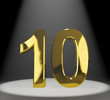 Gold 10th Or Ten 3d Number Closeup Representing Anniversary Or B