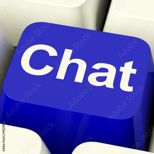 Chat Word Computer Key Representing Talking Or Texting