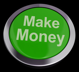 Make Money Button Green Showing Startup Business And Wealth