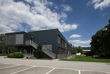 exterior of a modern school