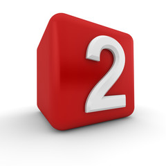 Red 3D block with number two