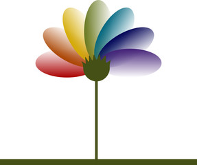 Single Rainbow Spectrum flower logo