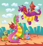 dragon family scene