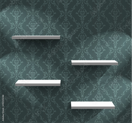 Lightened shelves on the wall with wallpaper