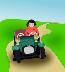 Girl in pedal car.