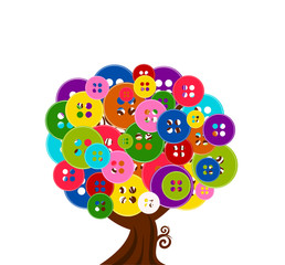 vector illustration of an abstract tree with buttons isolated on