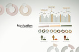 Motivation infographics with graphs and statistics for business