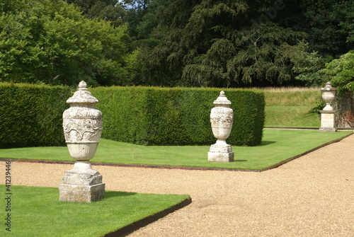 urns & hedge & path. Shape