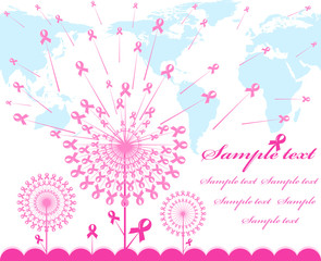 vector illustration of an abstract pink Support Ribbon  backgrou