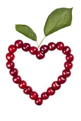 Herzkirschen mit Blatt
