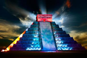 Chichen Itza Mayan Pyramid Night View