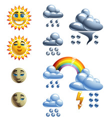 Weather Forecast Set with Loony Characters