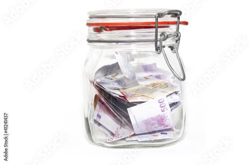 Geldschein im Einweckglas