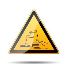 Señal peligro liquido corrosivo