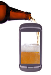 to fill, pour a glass of beer, the phone