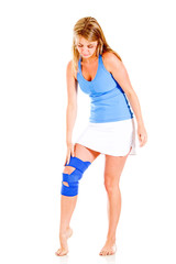 Woman with a knee injury