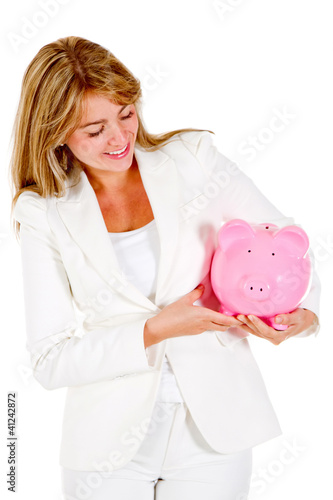 Woman saving in a piggybank