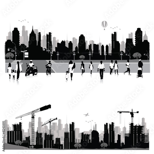 City skyline shiluettes.Vector illustration.