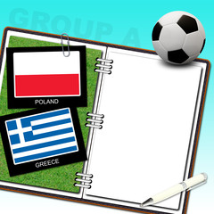 Soccer ball euro with flag poland and greece - euro 2012 group a