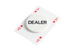 Dealer with ace casino card over white