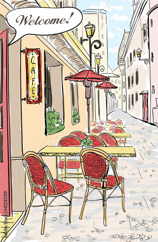 Papiers peints Drawn Street cafe Street cafe in old town sketch illustration