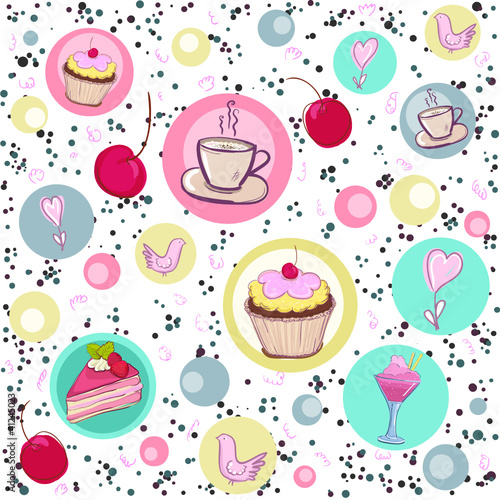 Sticker Holiday seamless pattern with sweets and coffee