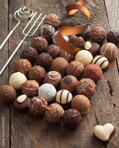 Luxury handmade chocolate bonbon assortment