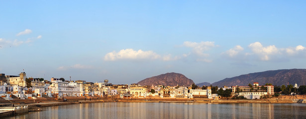Panorama of Pushkar, Rajasthan, India.