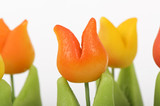 orange and yellow marzipan tulips