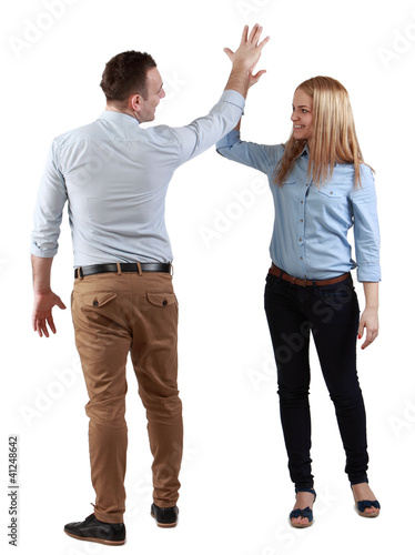 Couple celebrating their success