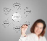 businesswoman draws business goal diagram