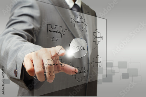 business man hand point to business goal diagram