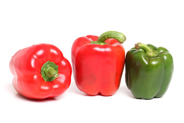 Red & Green bell pepper isolated on white
