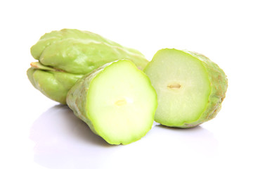 chayote chokos on white background.