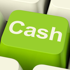 Cash Computer Key As Symbol For Currency And Finance