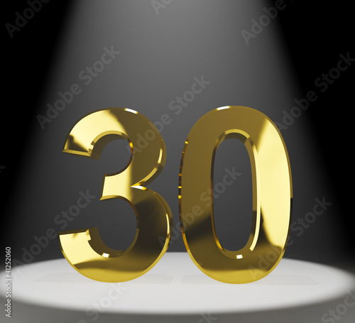Gold 30th Or Thirty 3d Number Closeup Representing Anniversary O