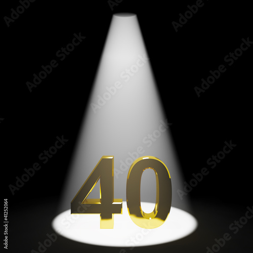 Gold 40 Or Forty 3d Number Closeup Representing Anniversary Or B