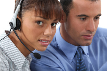 Call-center worker with supervisor