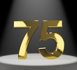 Gold 75th Or Seventy Five 3d Number Closeup Representing Anniver
