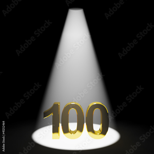 Gold 100th Or One Hundred 3d Number Representing Anniversary Or