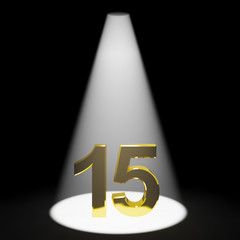 Gold 15th Or Fifteen 3d Number Representing Anniversary Or Birth