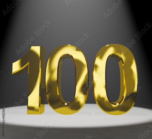 Gold 100th Or One Hundred 3d Number Closeup Representing Anniver