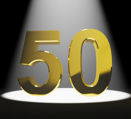 Gold 50th Or Fifty 3d Number Closeup Representing Anniversary Or