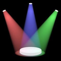 Red Blue And Green Spotlights Shining On A Small Stage With Blac