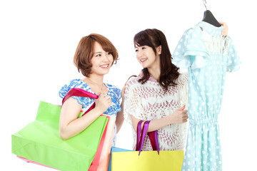 Beautiful shopping women. Portrait of asian women.